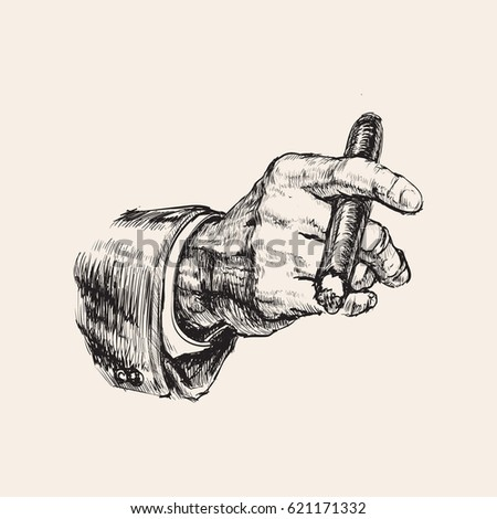 Hand With Cigar Vector Illustration