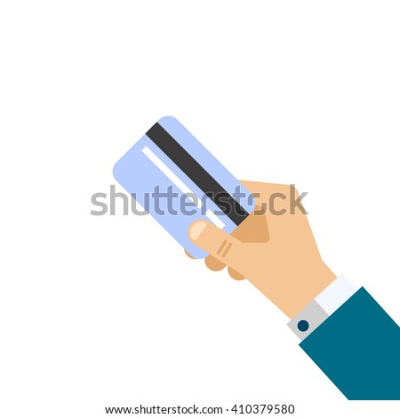 hand with credit card flat