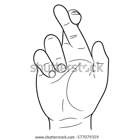 hand with crossed fingers of