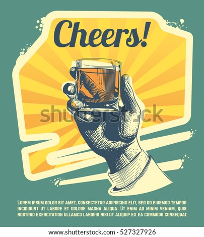Hand with drink glass. Retro vector party poster.