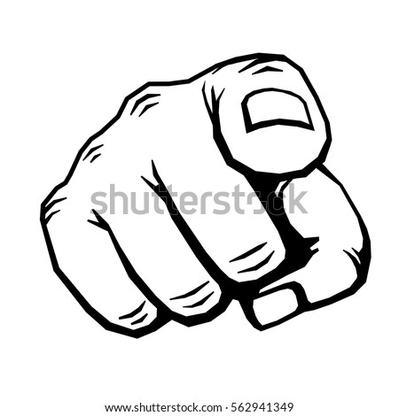 Hand with finger pointing vector illustration. Choosing gesture icon, direction and showing