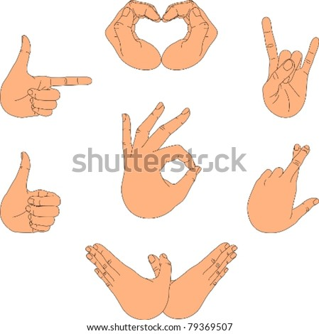 Hand with fingers in different positions/Gestures