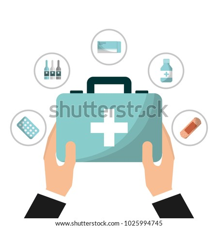 hand with first aid kit