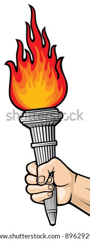 Hand with flaming torch (man's hand holding a burning torch)