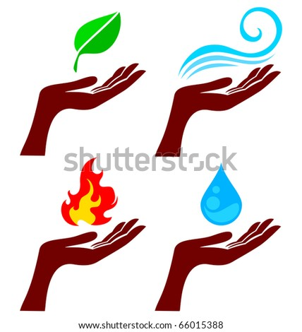... four nature element: tree leaf, fire, water and wind - stock vector
