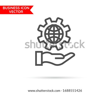 Hand with globe setting line icon 10 eps. Flat design.