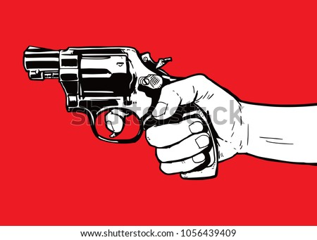 hand with gun illustration