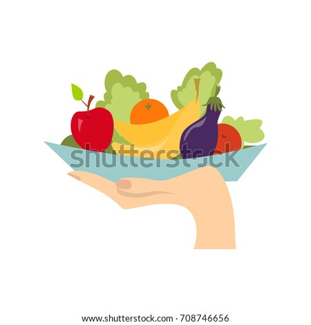 hand with healthy food hand