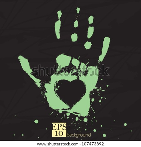 Hand with heart, concept of people's feelings and help, grunge stylized vector