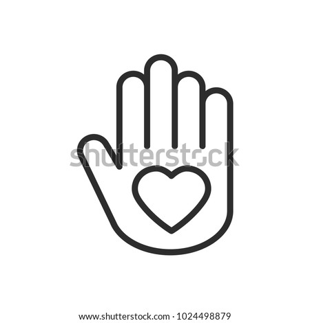Hand with heart line icon. Love relationship peace charity volunteer help care protection support theme. Peace sign and symbol.