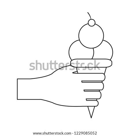 Hand with ice cream scoops black and white