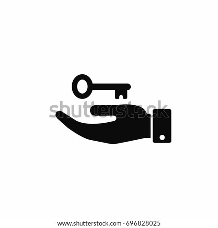Hand with key icon, vector isolated illustration.