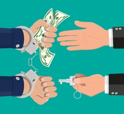 Hand with key unlocking handcuffs for money. Freedom for bribe. Anti corruption and bribery concept. Vector illustration in flat style