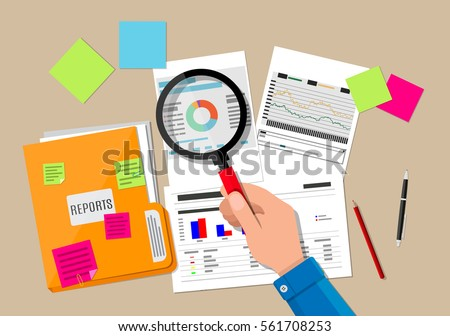 Hand with magnifying glass, analysis of financial report. Financial audit concept. Auditing tax process. vector illustration in flat design