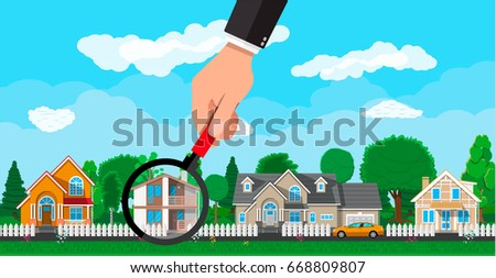 Hand with magnifying glass selects house. Village, flowers, trees, road, sky and clouds. Real estate, sale and rent house. Vector illustration in flat style