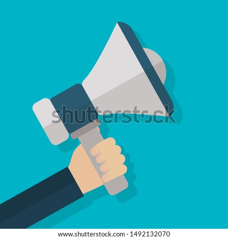 hand with megaphone business success productivity vector illustration