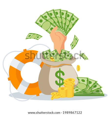 Hand with money sticks out of a bag of money. Fast loans at low interest rates. Financial assistance, support. Lifebuoy as a metaphor for financial aid. Flat vector illustration. Stok fotoğraf ©
