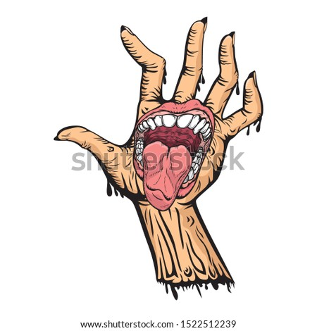 Hand with mouth cartoon vector vector, illustration cartoon