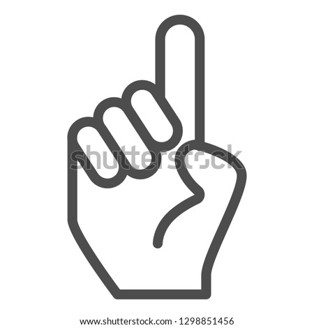 Hand with one finger pointing up line icon. Hand with index finger up vector illustration isolated on white. Pointing outline style design, designed for web and app. Eps 10