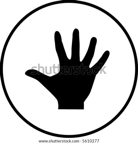 hand with palm extended or number five symbol