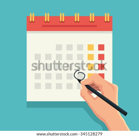 Hand with pen mark calendar. Vector flat illustration