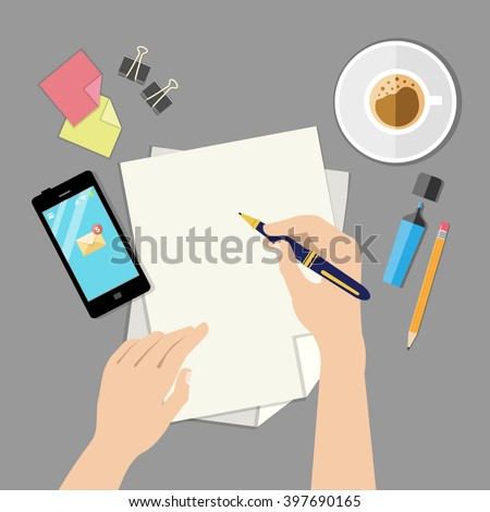 Hand with pen writing on a paper sheet. Overhead point of view. Modern flat design concept. Vector flat illustration.