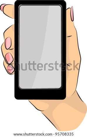 Hand with phone - stock vector