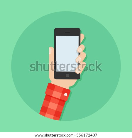 Hand with phone vector illustration in flat style. Man's hand holding a phone concept. Smartphone in hand isolated on background.