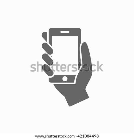 Hand with phone web flat icon. Hand with phone isolated on background. Hand with phone closeup