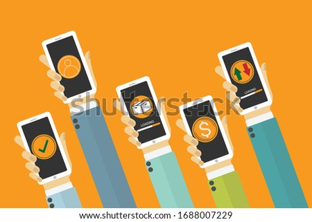 Hand with phones flat icon design. - mobile applications concept. - illustration.