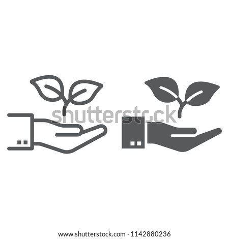 Hand with plant line and glyph icon, ecology and energy, eco friendly sign, vector graphics, a linear pattern on a white background, eps 10.
