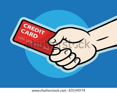 Hand with plastic card, EPS 8, CMYK.