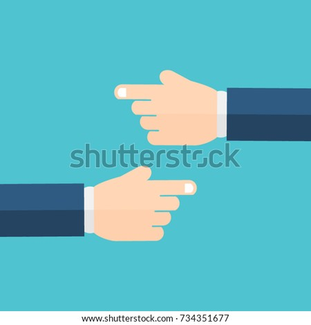 Hand with pointing finger. Left and right.