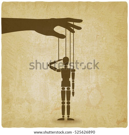hand with puppet old background. vector illustration - eps 10