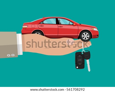 Hand with red car and keys. vector illustration in flat design.