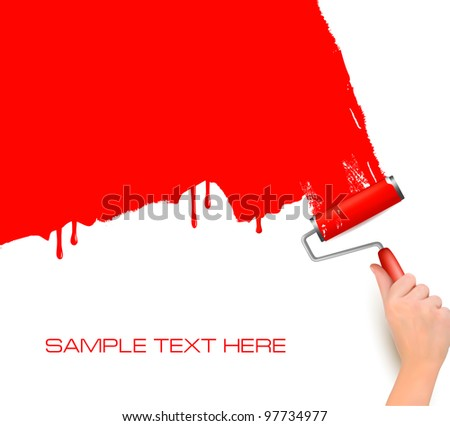 Hand with red roller painting the white wall  Background vector
