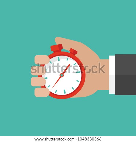 Hand with  red stopwatch isolated on turquoise background. Fast time stop watch, limited offer, deadline symbol. Vector illustration.