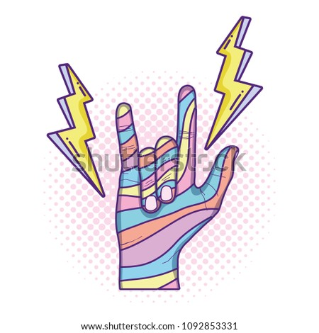 hand with rock gesture sign and fashion thunders #1092853331