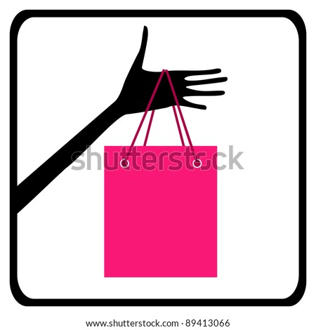 Hand with shopping bag icon