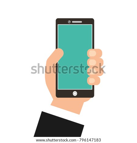 hand with smartphone device isolated icon