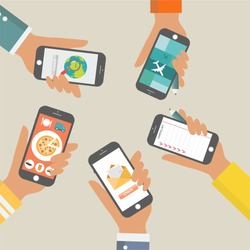 hand with smartphone icons image illustration set vector flat design