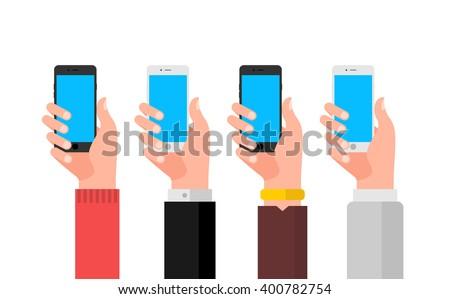 Hand with smartphone illustration set