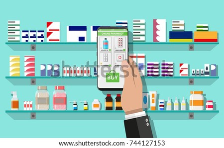 Hand with smartphone with shopping app. Modern interior pharmacy or drugstore. Medicine pills capsules bottles vitamins and tablets on store shelves. Vector illustration in flat style