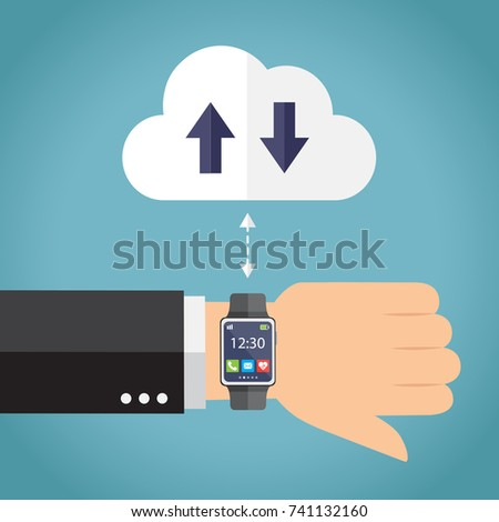 Hand with smartwatch connecting. Vector illustrator.