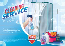 Hand with Spray Glass in Hand on Background Shower. Detergent for Home. Cleaning Service. Cleaning Apartment. Clean House. Set Cleaning Tools. Vector Illustration. Cleaning Realistic. Shining Surface.