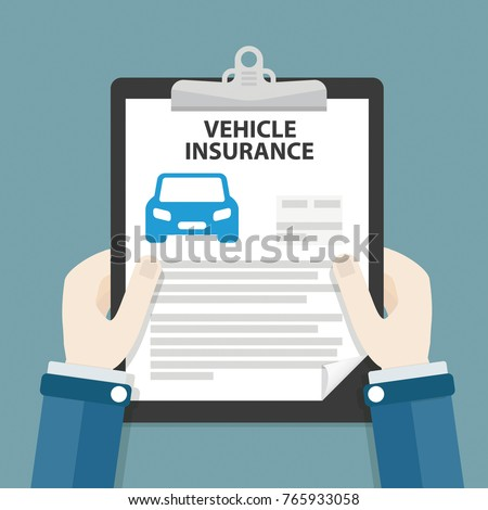 Hand with the clipboard and form with the text Vehicle Insurance. Eps 10 vector file.