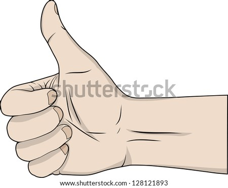 Hand with the thumb lifted upwards