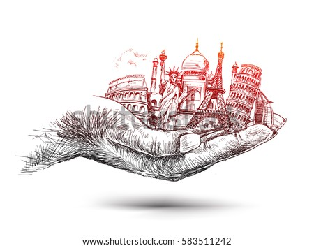 hand with travel the world hand