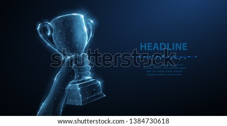 Hand with Trophy cup. Abstract vector 3d trophy isolated on blue background. Champions award, sport victory concept. Competition success, first place, best win, celebration ceremony symbol.