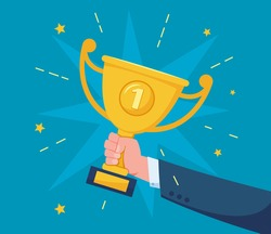 Hand with trophy cup. Successful businessman holding golden trophy award. Success celebration, competition winner, champion vector illustration. Employee having achievement at work